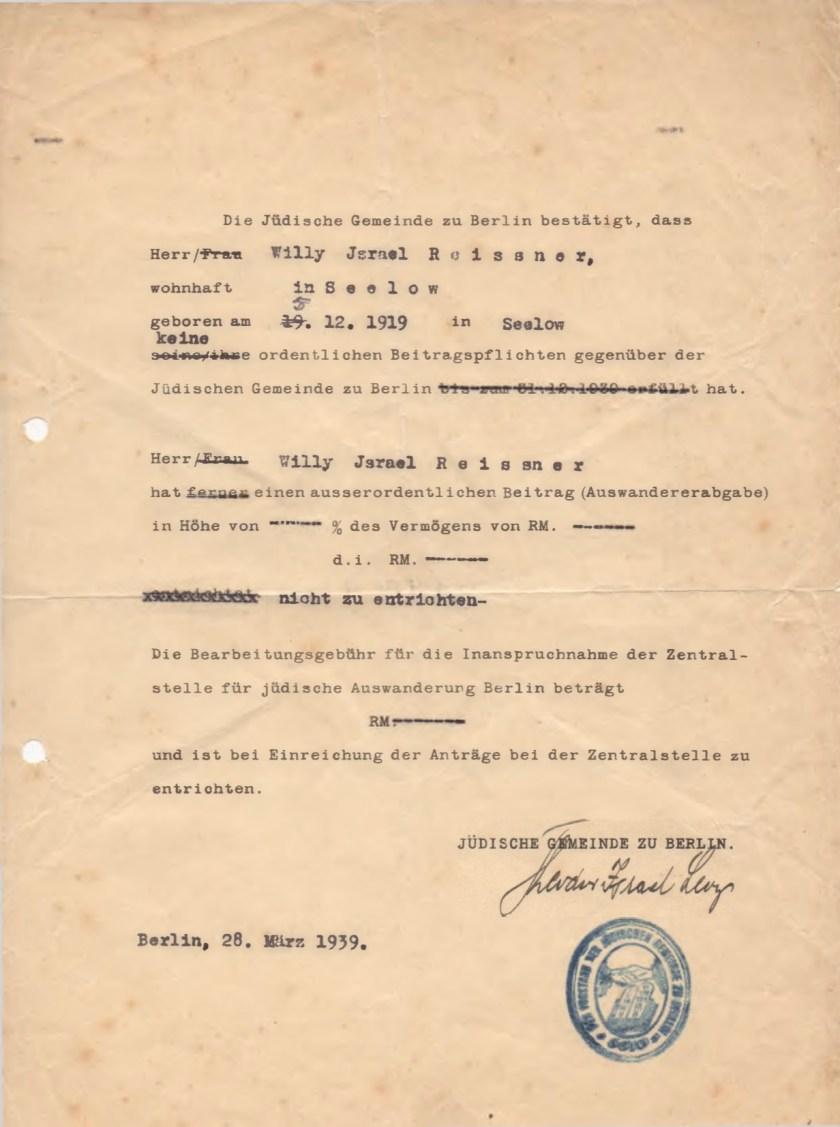 Kitchener camp, Willi Reissner, Die Jüdische Gemeinde zu Berlin, 28 March 1939