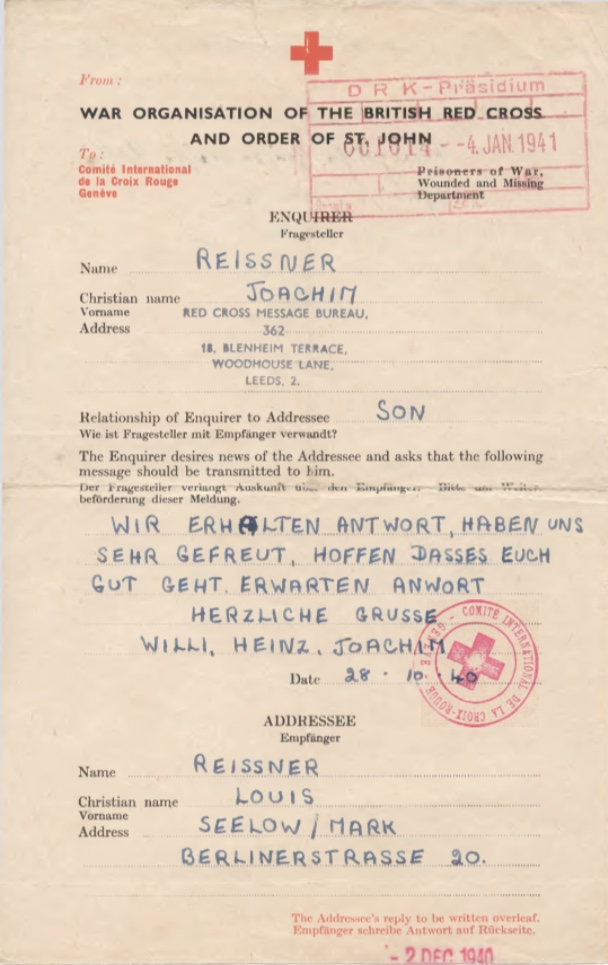 Richborough camp, Joachim Reissner, Red Cross letter, 28 October 1940, Stamped 4 January 1941, page 1