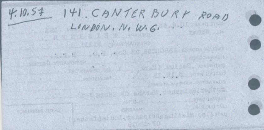 Kitchener camp, Willi Reissner, World Jewish Relief, Registration card, reverse
