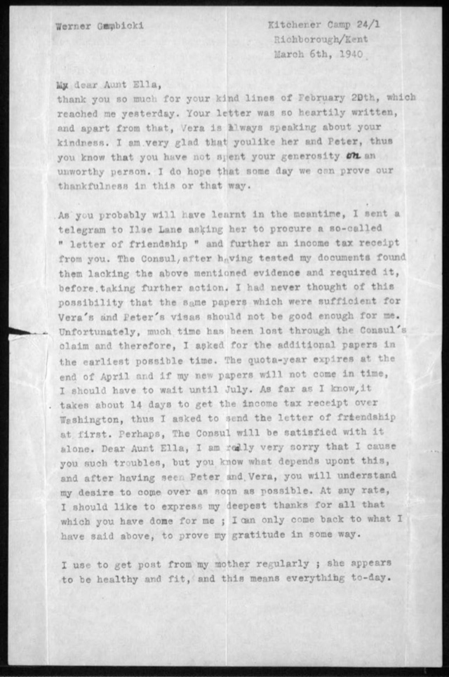 Kitchener camp, Werner Gembicki, Letter, Family news, Letter of Friendship, 6 March 1940, page 1