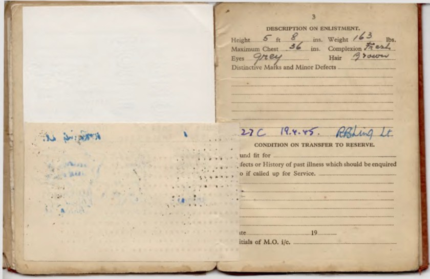 Kitchener camp, Willi Reissner, Army Book 64, Soldier's Service Pay Book, Pioneer Corps, Richborough, Soldier's description 15 December 1939, Transfer to reserve 19 April 1945, pages 9 and 10 under flap