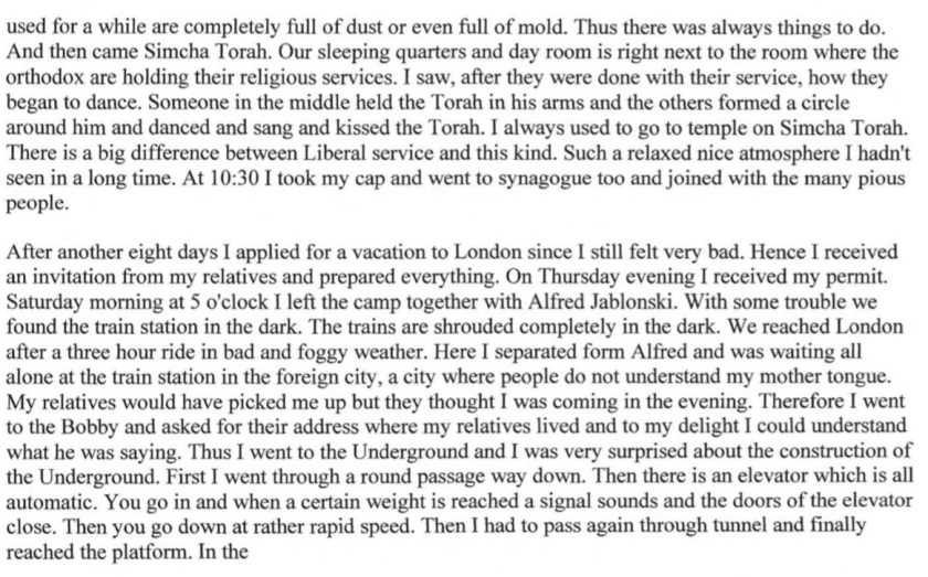 Kitchener camp, Diary, Gerhard Wolf, Berlin ORT, page 5