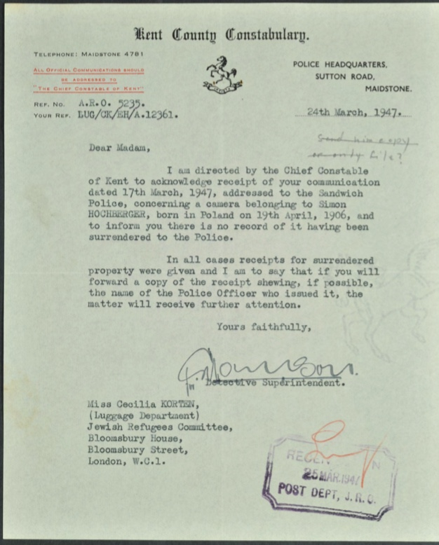 Kitchener camp, Simon Hochberger, Letter, Kent County Constabulary, Maidstone, Missing camera, 24th March 1947
