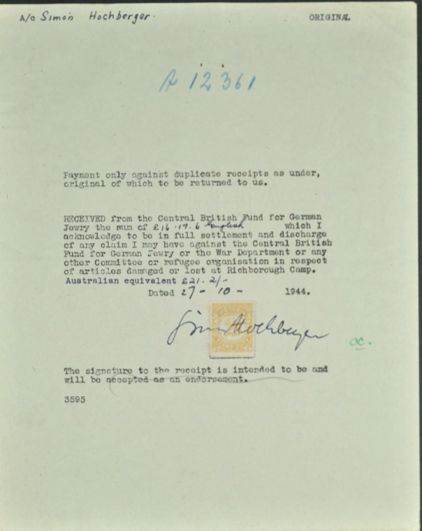 Kitchener camp, Simon Hochberger, Letter, Central British Fund for German Jewry, Missing luggage, 27 October 1944
