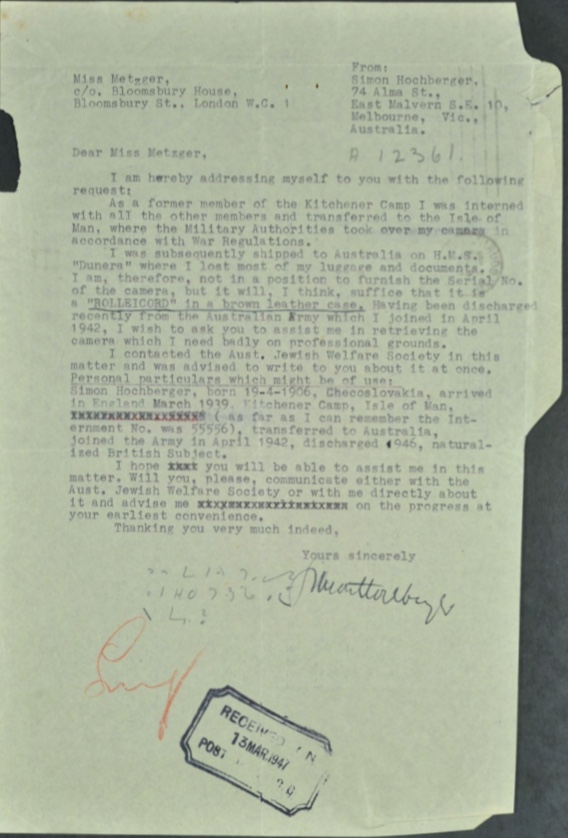 Kitchener camp, Simon Hochberger, Metzger, Bloomsbury House, Confiscated camera, 13 March 1947