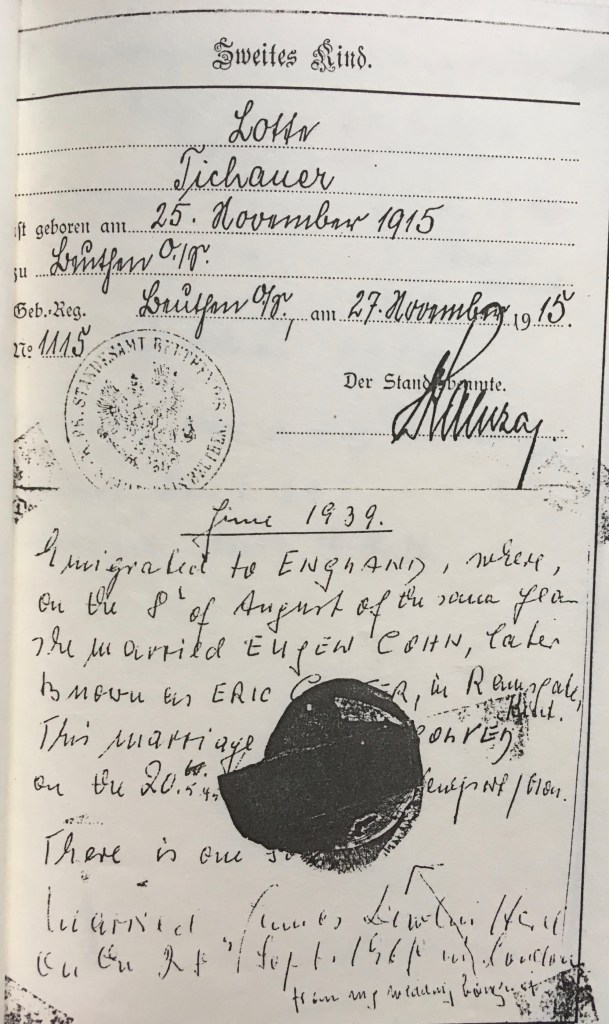 Kitchener camp, Eugen Cohn, Testimony, Lotte (Tichauer) Cohn, Account of marriage in Ramsgate
