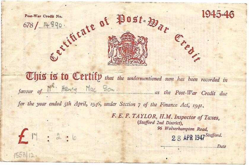 Kitchener camp, Max Israelsohn, Certificate of war credit, 28 April 1947