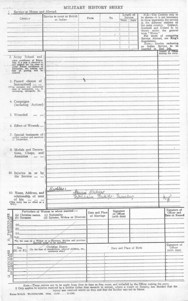 Kitchener camp, Max Metzger, Pioneer Corps Army Form E531, Military History Sheet, 18 December 1939