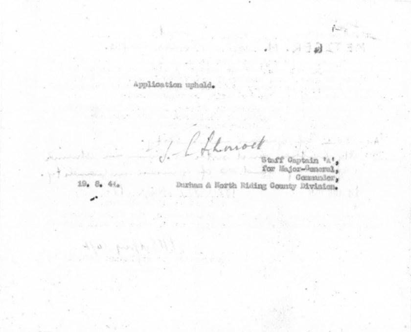 Kitchener camp, Max Metzger, Pioneer Corps, Application upheld, 19 August 1941