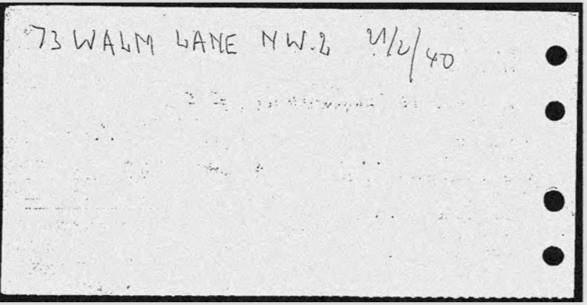 Kitchener camp, Karl Reiser, Arrival card, 27 March 1939, Wife Mathilde Ref. A16265 Source: World Jewish Relief