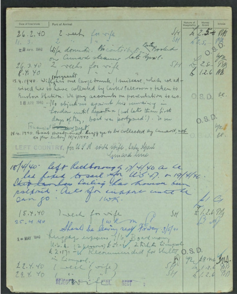 """Kitchener camp, Karl Reiser, German Jewish Aid Committee form, Wife on Domstic Sevice visa, Booked on Cunard steamer for USA late April, Luggage details, """"We pay accounts on presentation to us"""", """"No objections against his remaining in London until departure … boat was postponed. to see financial department"""", """"Left Richborough 17/04/1940"""", Luggage expenses, Board money, Recommended for shelter in Liverpool Source: World Jewish Relief"""