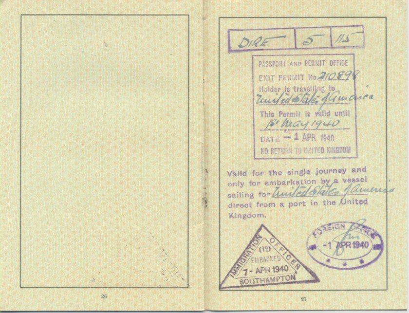 Kitchener camp, Frank Schanzer, German passport, Exit permit no. 210898, United States of America, Valid until 1 May 1940, Granted 1 April 1940 - Foreign Office, Embarked 7 April 1940 - Immigration Officer Southampton