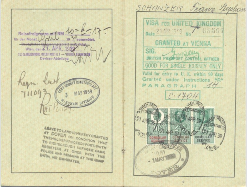 Kitchener camp, Frank Schanzer, German passport, Vienna 27 April 1939, Police registration number 711093, Kent County Constabulary 3 May 1939, leave to land at Dover, Visa for United Kingdom granted at Vienna 21 April 1939 No. 68507, Home Office no. C1704, British passport control 21 April 1939 - Consular service, Dover 1 May 1939