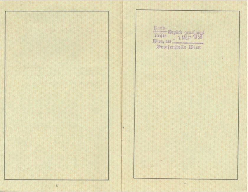 Kitchener camp, Frank Schanzer, German passport, Vienna 1 March 1939