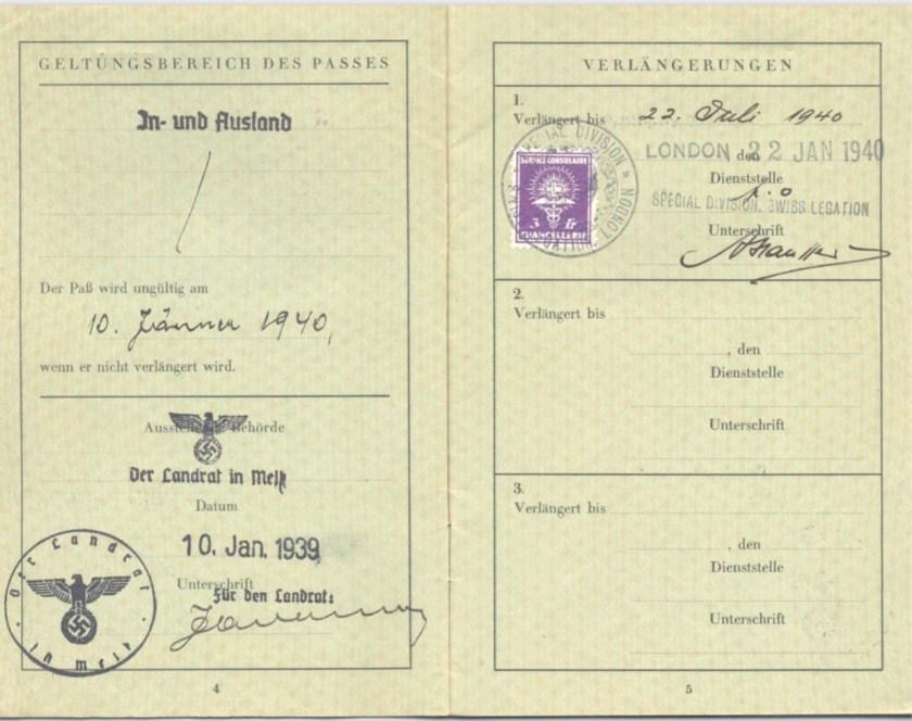 Kitchener camp, Frank Schanzer, German passport, Valid until 10 January 1940, Vienna 10 January 1939, Special Division Swiss Legation 22 Jan 1940, 22 July 1940