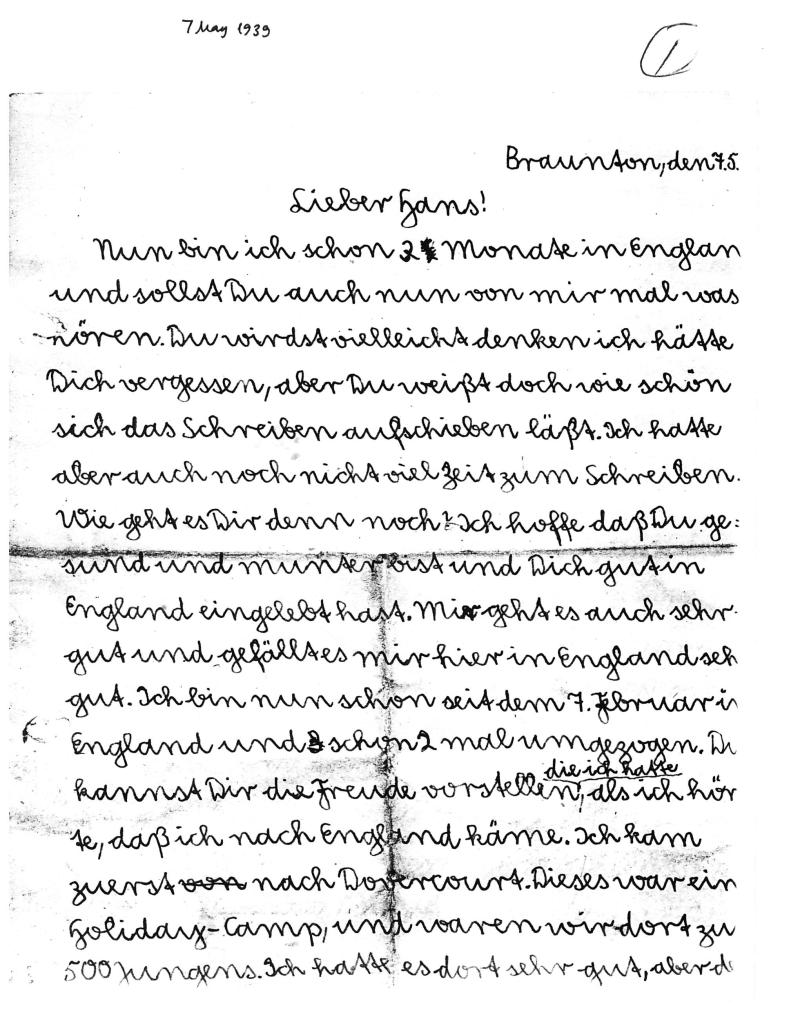 Kitchener camp, Alfred Meyer, Letter, 7th May 1939, page 1