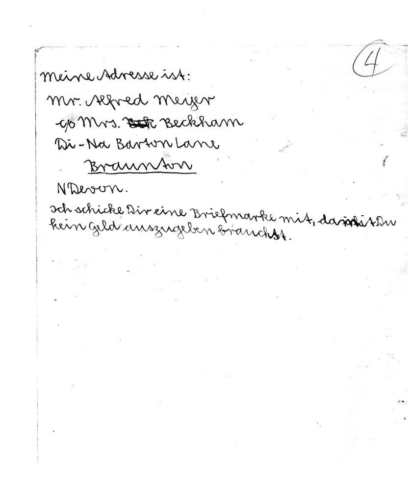 Kitchener camp, Alfred Meyer, Letter, 7th May 1939, page 4