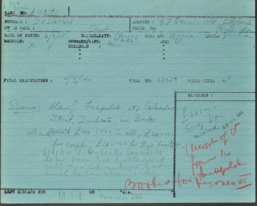Kitchener camp, Ernst Desiatnik, Leaving card, German Jewish Aid, page 1