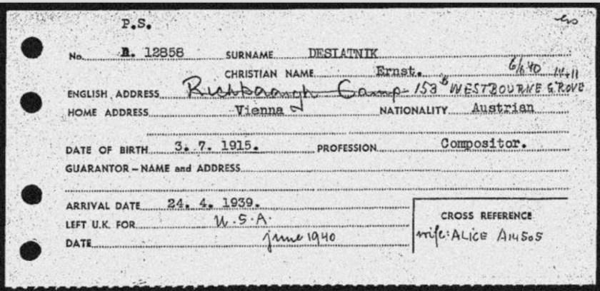 Kitchener camp, Ernst Desiatnik, Arrival card, Arrival date 24 April 1939, Left for USA June 1940