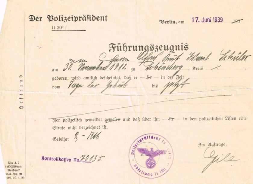 Kitchener camp, Alfons Schüler, Health Certificate, Führungszeugnis, Police certificate, 17 June 1939