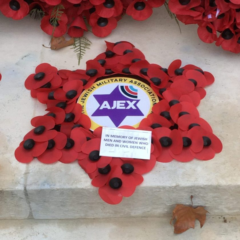 AJEX ceremony, 17 November 2019 The wreath for Jewish men and women who died in civil defence