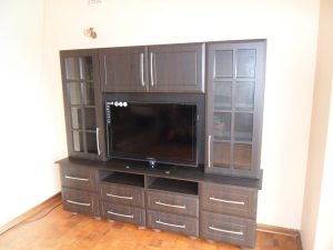 American wallnut PVC TV unit with a bevel thin square bead door pattern