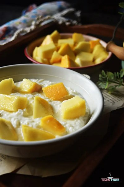 Curd Rice With Diced Sweet Mango