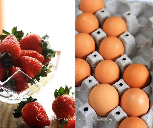 collage of eggs and strawberries