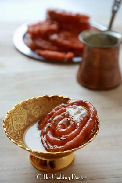 Jalebi with Vanilla Flavored Rabdi