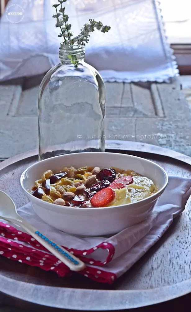 Warm Oatmeal Bowl with Fruits and Nuts