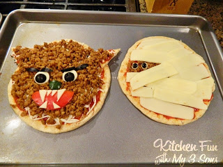 Halloween Classic Monster Pita Pizza's The Wolf Man and Mummy