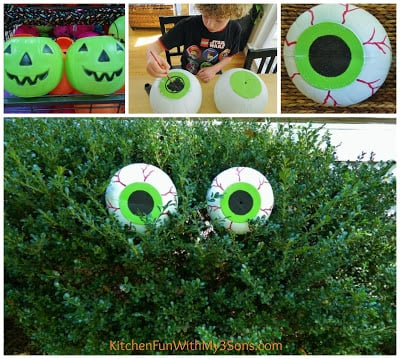 DIY Spooky Bush Eyes for a fun Halloween craft from KitchenFunWithMy3Sons.com!