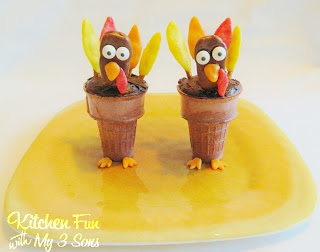 Turkey Cake Cones...a dessert that the kids will love for Thanksgiving
