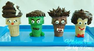 Creepy Cupcake Monster Cones
