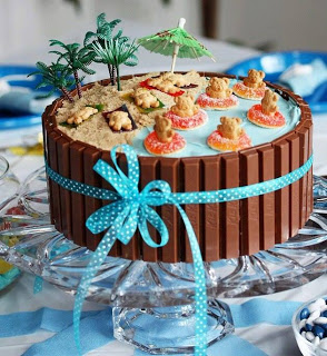 Bear Beach Party Kit Kat Cake