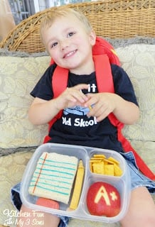 Here is my very happy 2 year old with his Back to School Bento!