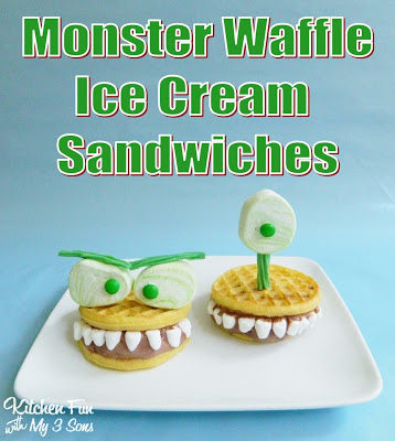 Monster Waffle Ice Cream Sandwiches