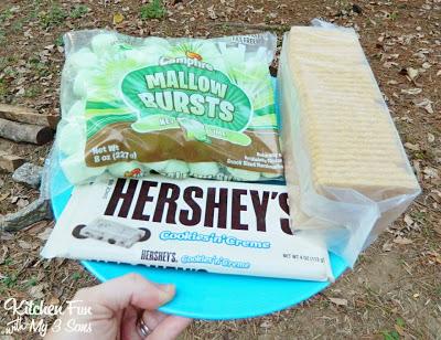 Keylime Marshmallows, Graham Crackers, & Hershey's Cookies & Cream Chocolate