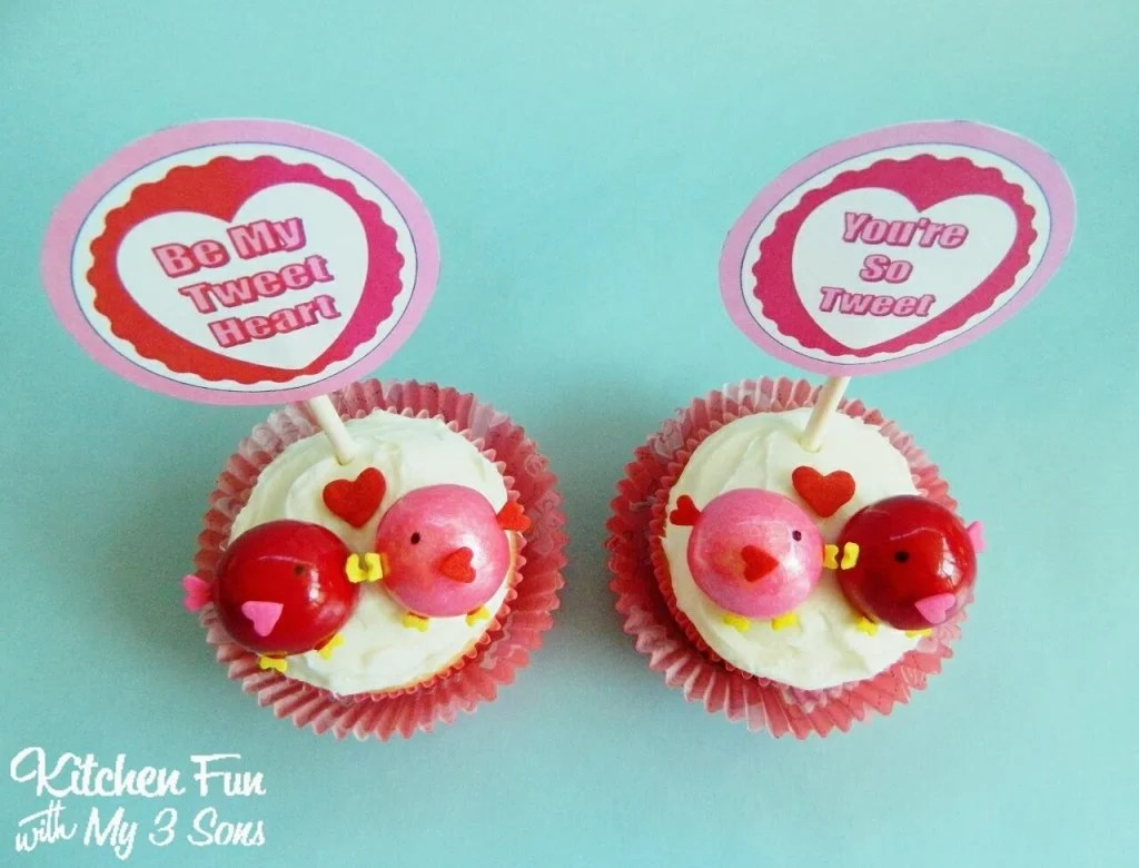 Valentine Love Birds Cupcakes With FREE Printables