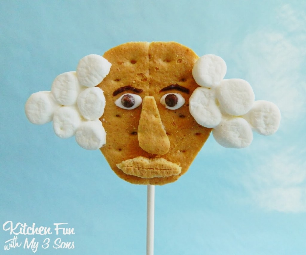 George Washington S'mores Cookie Pops for Presidents Day Close Up