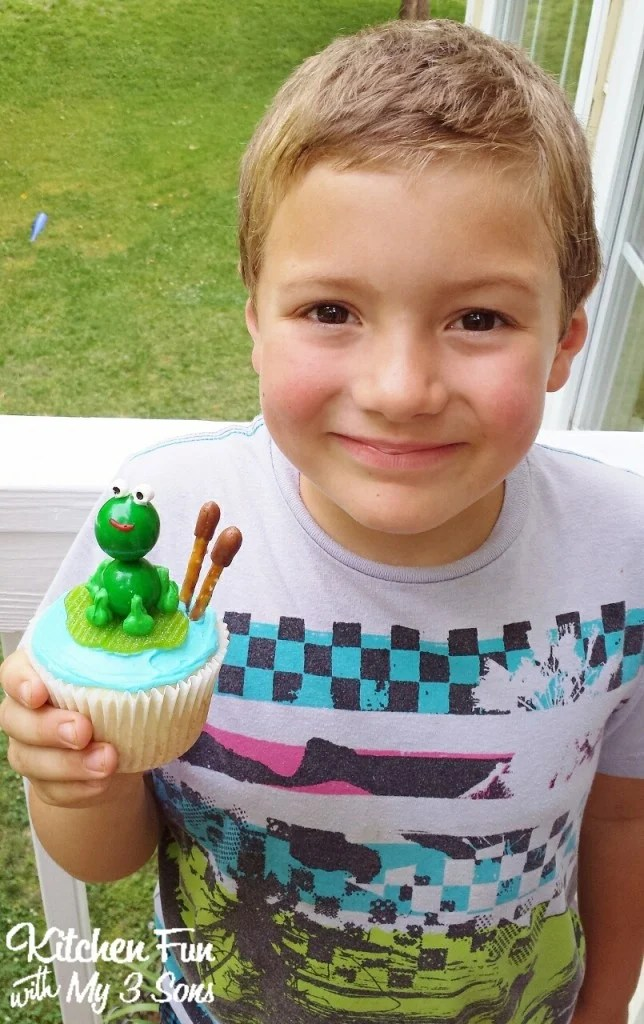 Here is my 8 year old with his fun Foggy Cupcake