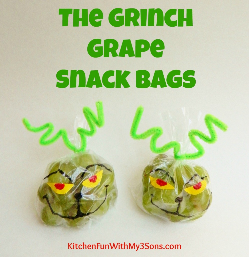 The Grinch Grape Snack Bags For Christmas Class Parties At