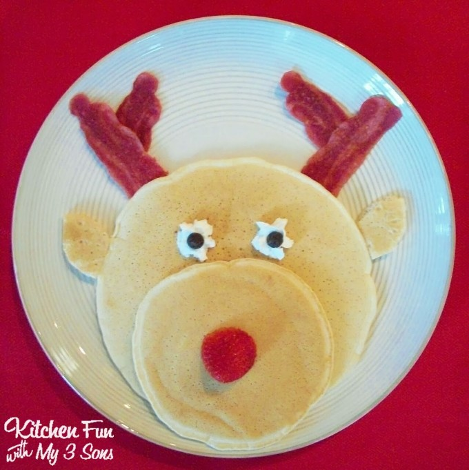 Rudolph the Red Nose Reindeer Pancakes...a fun Christmas Breakfast idea for Kids!