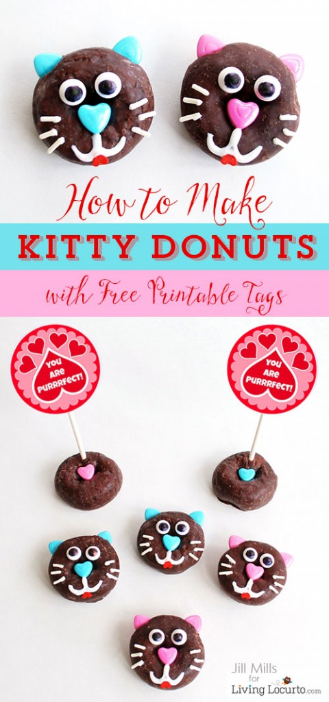 Kitty Cat Donuts with a Free Valentine's Day Printable!