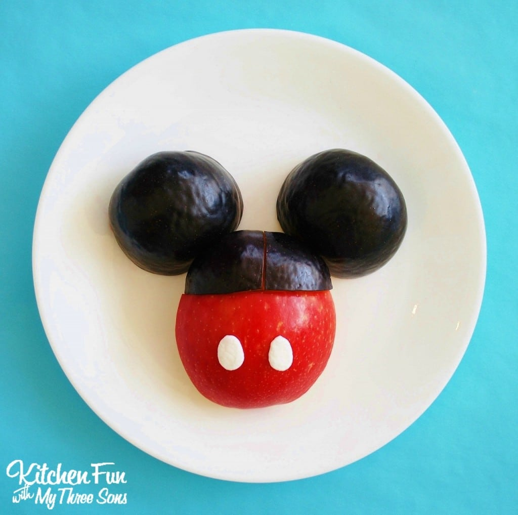 Disney Mickey Mouse Fruit Snack....a healthy fun food snack idea from KitchenFunWithMy3Sons.com