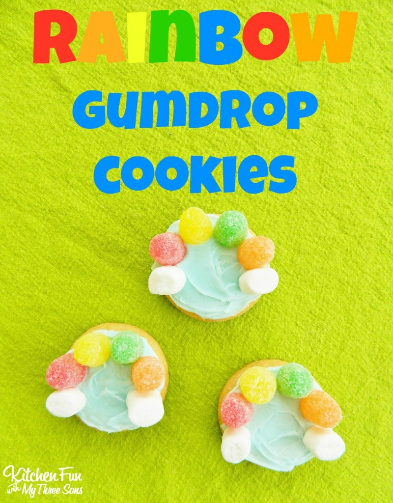 Easy Rainbow Gumdrop Cookies for St. Patrick's Day from KitchenFunWithMy3Sons.com