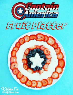 The Avengers Party with a easy Captain Amercian Fruit Platter from KitchenFunWithMy3Sons.com
