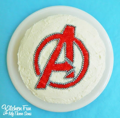 The Avengers Birthday Party Sprinkle Cake...takes minutes to make from KitchenFunWithMy3Sons.com