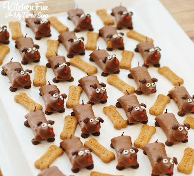 Candy Bar Dog Treats...so cute & easy to make from KitchenFunWithMy3Sons.com