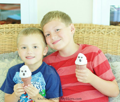 Halloween Ghost Ice Cream Cones from KitchenFunWithMy3Sons.com